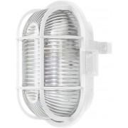 Lampă ovală cu coş de protecţie, E27, max. 60 W, alb