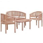Set mobilier de grădină, 4 piese, lemn masiv de tec