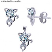 Silver Shine 92.5 Sterling Silver Small Mini Cat Pendant Set for Women Girls