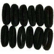 Minder New Super Soft Shining Black Hair Ties (Best Quality Rubber Bands - Set of 12 Pcs. )