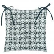 Atmosphera Modrý polštář na židli ze vzorované tkaniny, dekorační poduška a pohodlné sezení v jednom