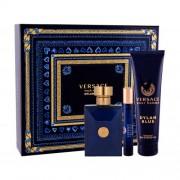 Versace Pour Homme Dylan Blue set cadou apa de toaleta 100 ml + apa de toaleta 10 ml + gel de dus 150 ml pentru bărbați