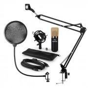 Auna MIC-900BG Juego de micrófono V4 USB Micrófono de condensador Protector antipop Brazo para micrófono dorado