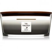 Woodwick Trilogy Warm Woods lumânare parfumată cu fitil din lemn (hearthwick) 453,6 g