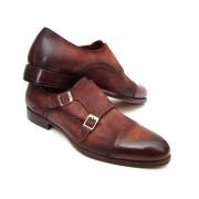 Paul Parkman Cap Toe Double Monk Strap Shoes Antique Brown Suede 045BT11