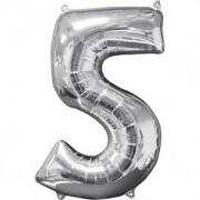 Balon folie Cifra 5 argintiu 70 cm