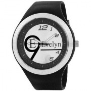 Evelyn Round Dial Black Silicone Strap Quartz Watch For Men