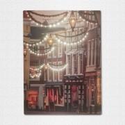 Karácsonyi elemes LED világító vászonkép 40×30 cm Utcakép