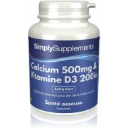 Simply Supplements Calcium 500mg et Vitamine D3 200iu - 120 Comprimés