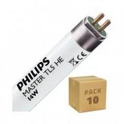 efectoled.com Pack Tubo Fluorescente Regulable PHILIPS T5 HE 550mm Conexión dos Laterales 14W (10 un) Blanco Cálido