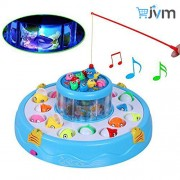 JVM Fish Catching Electric Rotating Magnetic Fishing Game with 26 Pcs Of Fish, 2 Rotary Pond and 4 Pods (Assorted)