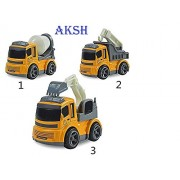 AKSH Non-Toxic High Quality JCB Construction Vehicle Truck Toys (Set of 3) 12 cm - Yellow (JCB Set)