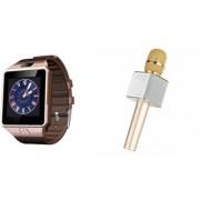 Mirza DZ09 Smart Watch and Q9 Microphone Karrokke Bluetooth Speaker for LG OPTIMUS IT(DZ09 Smart Watch With 4G Sim Card Memory Card| Q9 Microphone Karrokke Bluetooth Speaker)