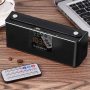 Q6 Heavy Bass Stereo Bluetooth Speaker with Remote Control & LED Screen Support Hands-free TF Card AUX U Disk For iPhone Samsung Huawei Xiaomi HTC and Other Smartphones Bluetooth Distance: about 10m(Black)