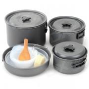 DS-500 multiples-funcional portatil 4 ~ 5 personas al aire libre Camping Pots Set w / plegable manejar-Negro Ash