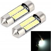 2 Pcs 2W 100 Lm 6000K 31mm Bicúspide Puerto Coche Dome Lampara LED Luz De Lectura Con 16 Smd-4014 Lamparas LED DC 12V (luz Blanca)