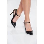 Fekete elegáns valódi bőrből készült cipő