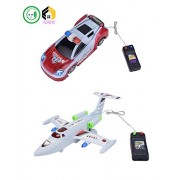 Aarushi Vijkan Plastic Remote Control Running Plane and Police Car for Kids (Multicolour) - Pack of 2
