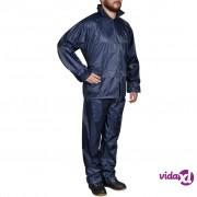 vidaXL Kišno muško odijelo s kapuljačom, Veličina XL, Plavo