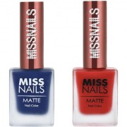 Miss Nails Midnight Blue Crezy Red Matte Series nail Polish combo pack 10 ml each