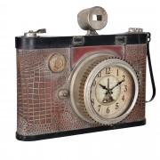 Стенен часовник [en.casa]® Античен фотоапарат - с аналогови стрелки - 43 x 14 x 34 см – цветен - стъкло