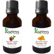 KAZIMA Combo Set of Rose Oil & Orange Essential Oil ( Each 15ml ) Ideal for use in Promotes Hair Growth Moisturizes Skin Reduces Acne scars Face Health Benefit Massage( Each 15ml )