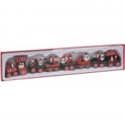 Bellatio Decorations Kersttrein met wagonnetjes van hout 41 cm