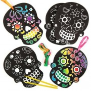 Baker Ross Day Of The Dead Scratch Art Decorations - 6 Rainbow Scratch Paper Kits. Easy Scratch Art For Kids. Size 14.5cm.