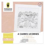 PIROUETTE CACAHOUETE 4 cadres Licornes à colorier et fabriquer