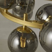 Maisons du Monde Lámpara de techo con 15 bolas de cristal tintado negro y metal dorado
