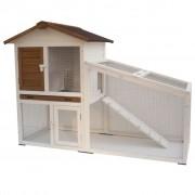"@Pet @Pet @Pet Клетка за зайци ""Tommy"", бяло и кафяво,140x65x100 cм, 20072"
