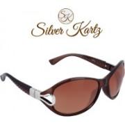 Silver Kartz Oval, Cat-eye Sunglasses(Brown)
