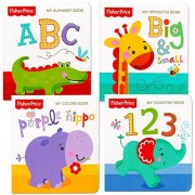 """Fisher-Price Fisher Price """"My First Books"""" Set Of 4 Baby Toddler Board Books (Abc Book, Colors Book, Numbers Book, Opposites Book)"""
