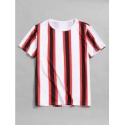Zaful T-shirt décontracté à rayures verticales Multi-A 3XL