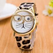 New Fashion Glasses Cat Watch Leather Strap Geneva Watch Women Wristwatch Dress Watches Quartz Watch
