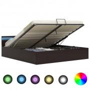 vidaXL Легло повдигащ механизъм с LED сиво изкуствена кожа 180x200 cм