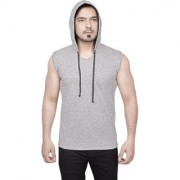 Dudlind Mens Casual Hooded Sleeveless T-Shirt Colour Grey Regular Fit | Casual Shirts for Mens Regular wear and Party wear