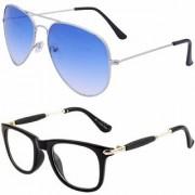 Debonair Aviator and Wayfarer Men's and Women's Sunglasses Combo (Blue Clear) - Pack of 2