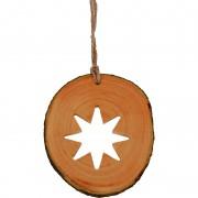 Decoratiune de craciun - Steluta cu 8 colturi din felie de lemn New Way Decor