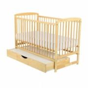 Patut din lemn BabyNeeds - Ola 120x60 cm cu sertar Natur + Saltea 8 cm