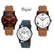Mark Regal Round Dial Leather Strap Men's Quartz Watches Combo Of 3