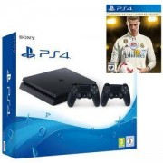 Конзола PlayStation 4 Slim, 500GB, Два геймпада, Черна+Игра FIFA 18 Ronaldo edition за Playstation 4