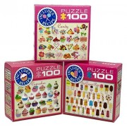 Eurographics Sweets Puzzle Set - Three 100 Piece Puzzles - Candy, Cupcakes, Ice Cream Pops