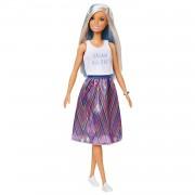Barbie Fashionista Muñeca con Mechas Azules y Falda Estampada