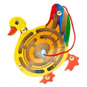 Phenovo Wooden Puzzles Magnet Beads Slot Magnetic Pen Labyrinth Board Maze Game Toy Kids Educational Brain Teaser Toy Gift -Duck