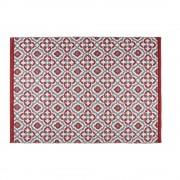 Maisons du Monde Alfombra de jardín con motivos gráficos rojos y blancos 140x200 SAUBRIGES