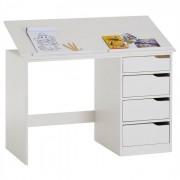 IDIMEX Bureau enfant EMMA, en pin massif, 4 tiroirs et plateau inclinable, lasuré blanc