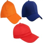 Sunshopping men's solid orange royal blue and red pure cotton baseball cap (pack of three)