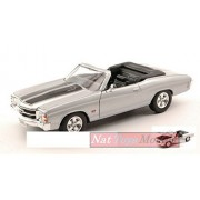 WELLY WE2089S CHEVROLET CHEVELLE SS 454 1971 SILVER W/BLACK STRIPES 1:24 MODEL