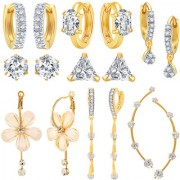 Jewels Galaxy All IN ONE Collection Combos OfFancy American Diamond Earrings 1 Fashion Earring And 1 Earcuff- Combo Of 7